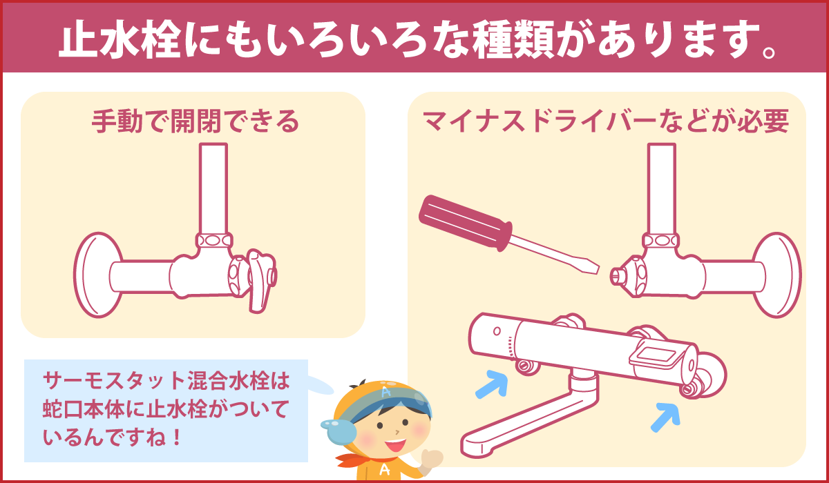 止水栓にもいろいろな種類があります。
