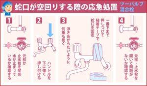 蛇口が空回りする際の応急処置 ツーバルブ混合栓