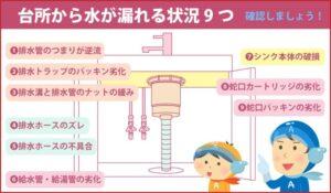 台所から水が漏れる状況9つ